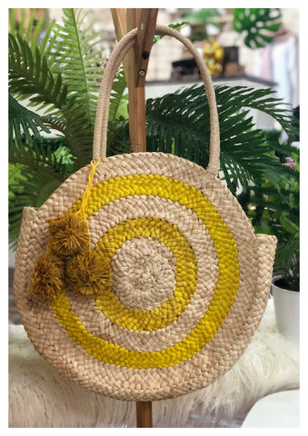 Free Spirit 'Circle' Rattan Bag with Yellow Pom Poms