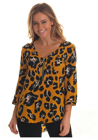 Freez 'Zip' Shirt in Mustard Cheetah Print