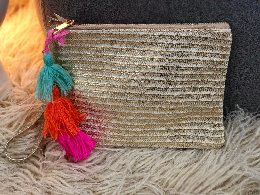 Free Spirit 'Lou Lou' Gold Clutch with Multi Coloured Tassels