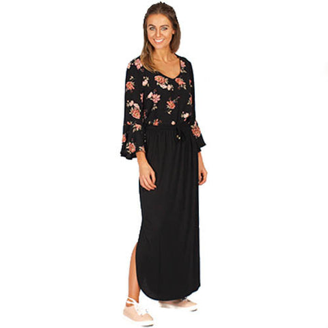 Freez 'Jersey' Maxi Skirt in Black