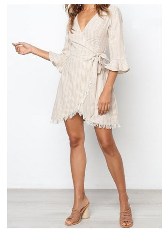 Ava 'Charlie' Dress in Beige & White Stripe