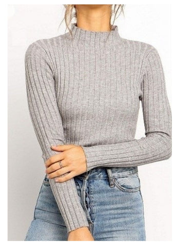 Yours Truly 'Ayra' Knit Top in Grey