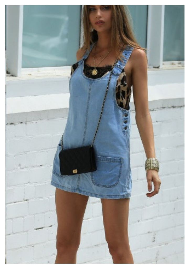 Refuge 'Carly' Denim Pinafore Dress with Front Pockets