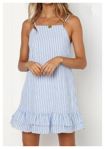Lyon 'Swing' Dress in Blue & White Stripe