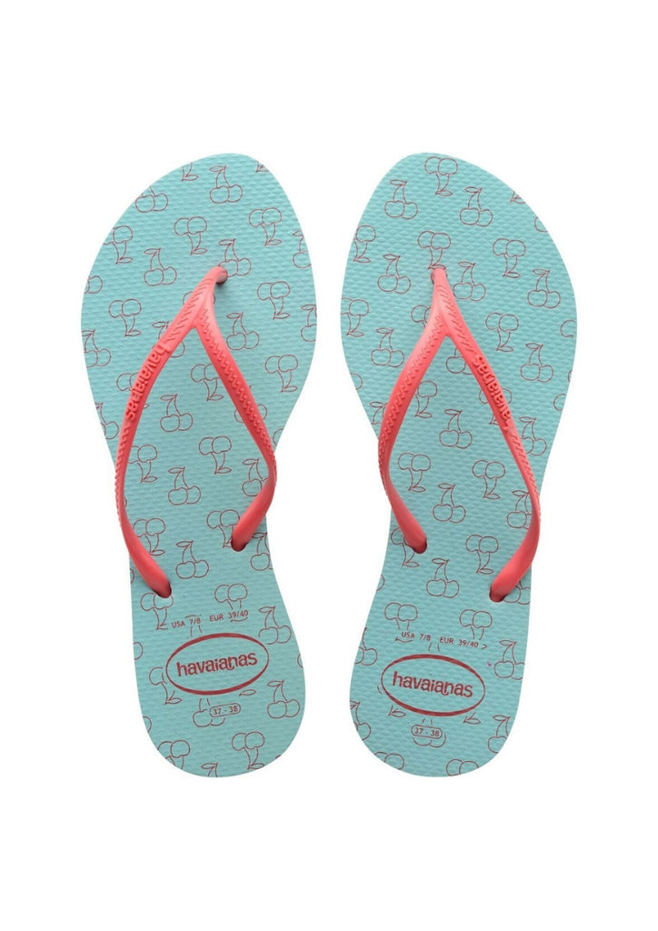 Havaianas 'Allegra' in Ice Blue / Coral