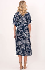 A Joy 'Madeleine' Dress in Navy Tropical Print