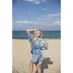 Embellished Kaftans Butterfly Dress | Turquoise, Royal Blue & Yellow
