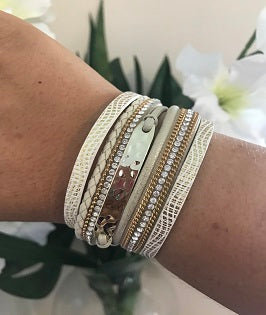 DNY Beaten Bar Wrap Bracelet Cream