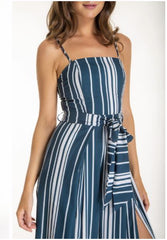 Style State 'Santorini' Split Leg Jumpsuit in Blue & White Stripe