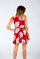 Toby Heart Ginger 'Lone Star' Sleeveless Red Floral Mini Dress