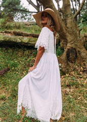 Jaase 'Wisteria' Embroidery Maxi Dress in Geisha White