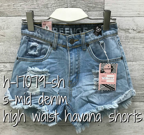 Refuge 'Havana' Mid Blue Denim Shorts