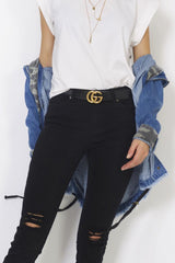 Refuge 'Classic Knee Rip' Denim Jeans in Black