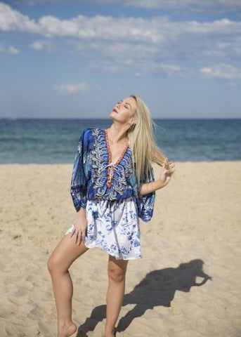 Embellished Kaftans Butterfly Dress | Blue & White
