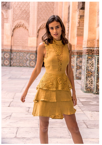 Seven Wonders 'May' Mini Dress in Mustard