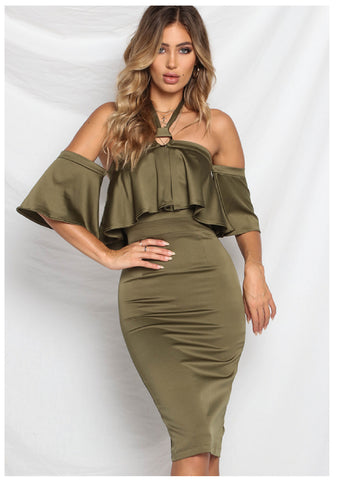 Runaway 'Captive' Midi Dress in Khaki