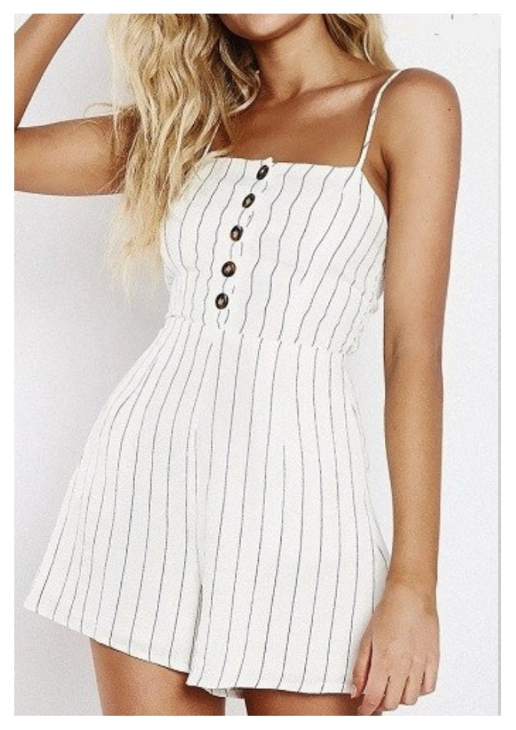 Runaway Heart 'Victoria' Playsuit with Navy + White Pin Stripe