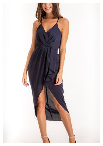 Style State 'Penelope' Frill Singlet Dress With Split Hem in Navy