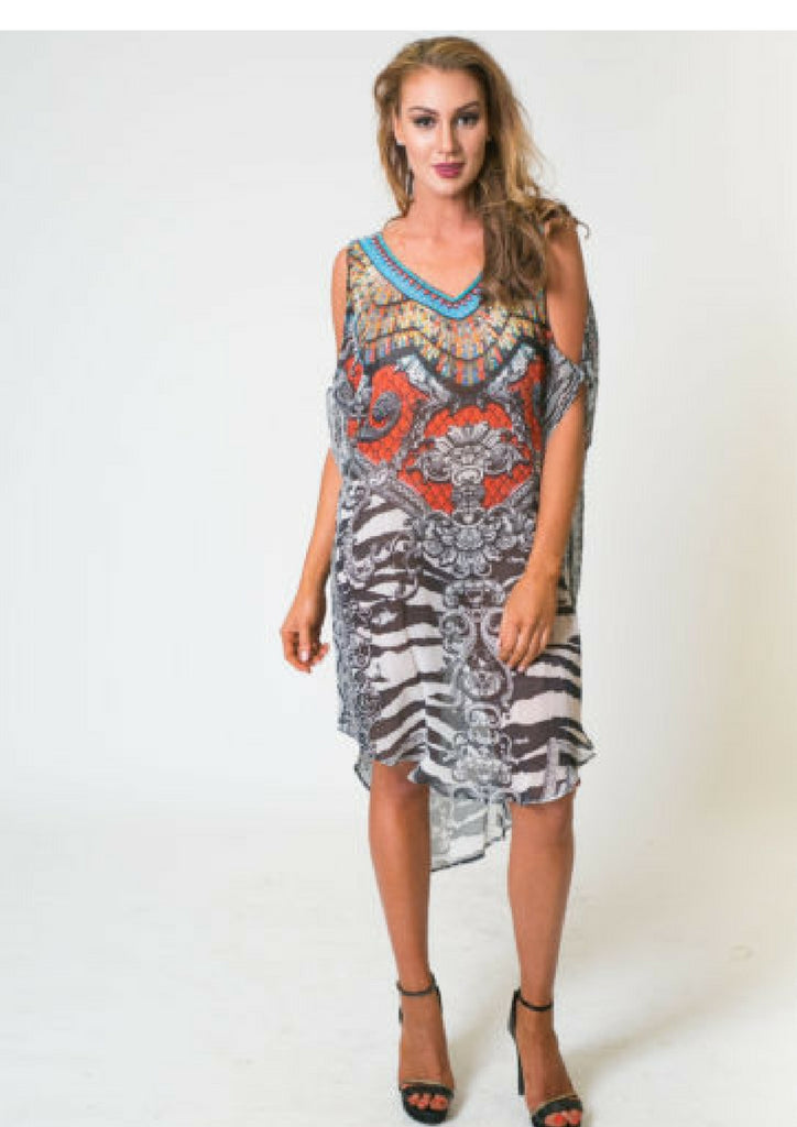 Cocomo Kaftan Dress | Spider of Orchid Print