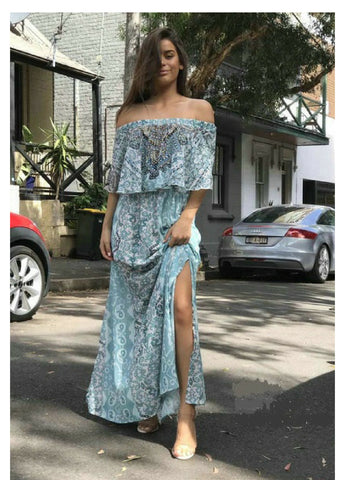Gigi & Ella 'Bianca' Off the Shoulder Maxi Dress in Teal