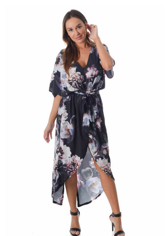 Silence & Noise 'Meaghan' Dress in Dark Bloom Print