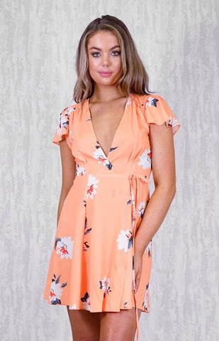 Style State Wrap Dress in Tangerine