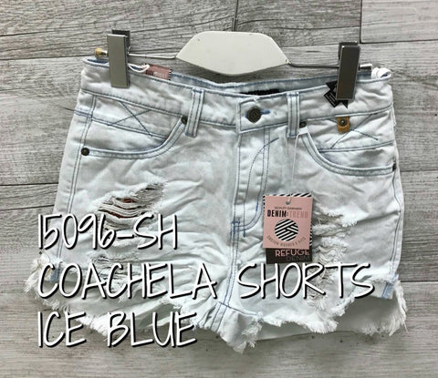 Refuge 'Coachella' Denim Shorts in Ice Blue