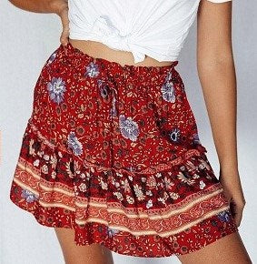 Yours Truly 'Freya' Skirt in Gypsy Red