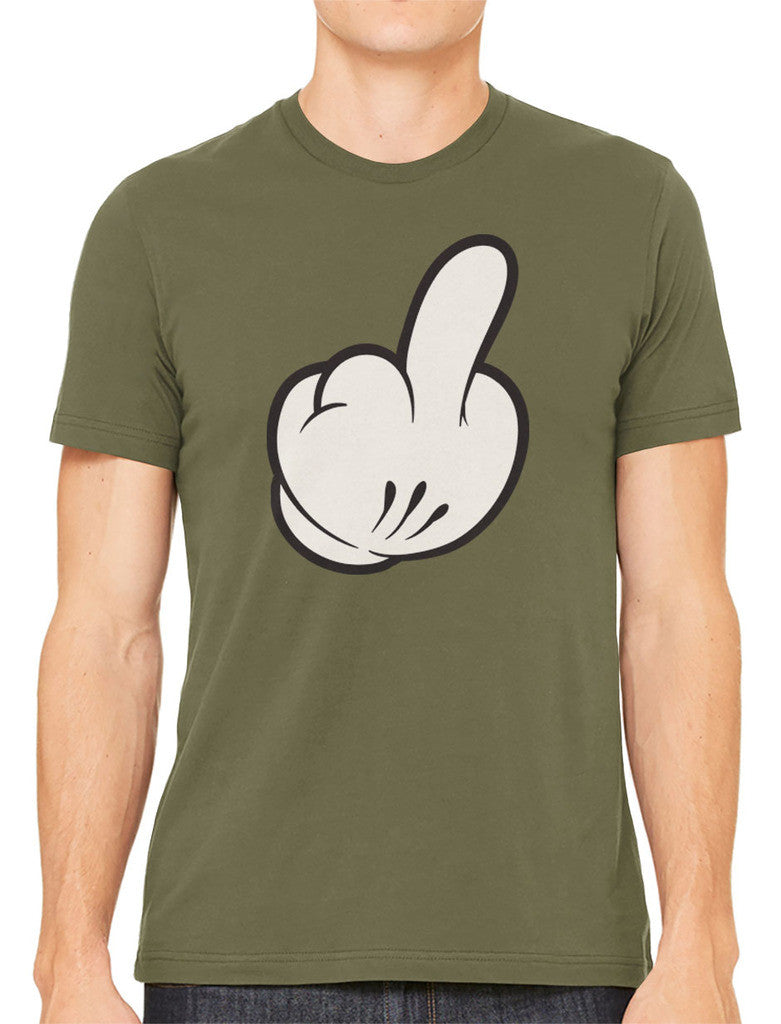 Cartoon Glove Middle Finger Men's T-shirt