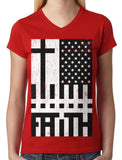 Faith Cross American Flag Junior Ladies V-neck T-shirt