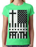 Faith Cross American Flag Junior Ladies T-shirt