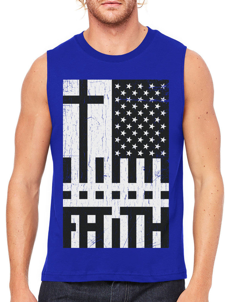 Faith Cross American Flag Men's Sleeveless T-Shirt