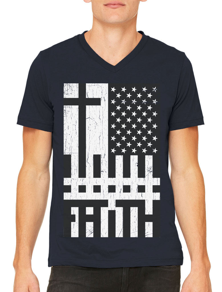 Faith Cross American Flag Men's V-neck T-shirt
