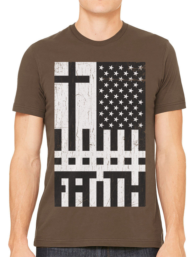 Faith Cross American Flag Men's T-shirt