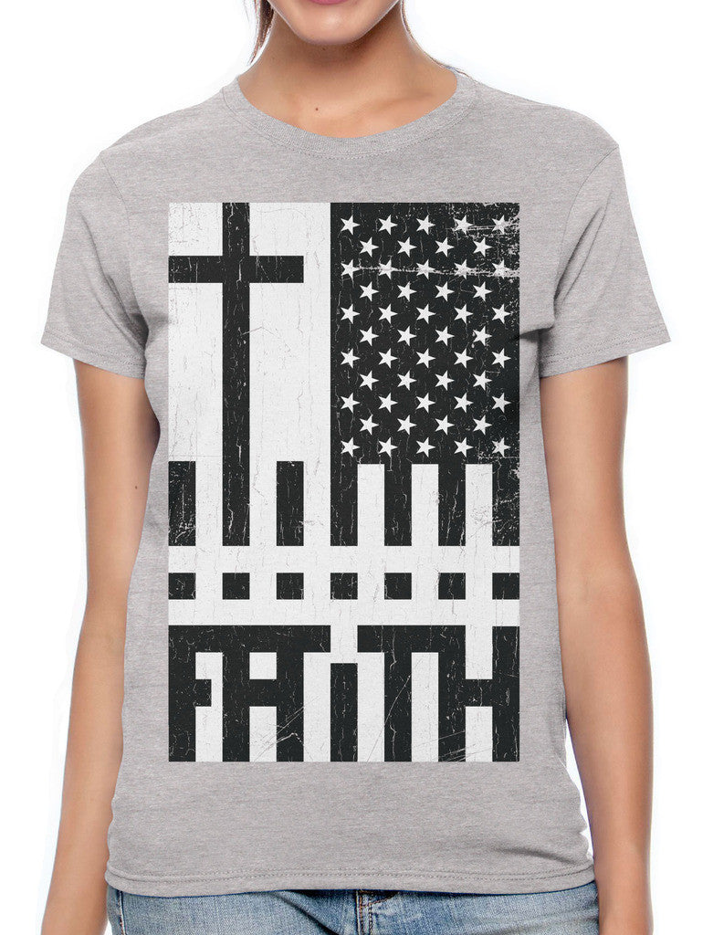 Faith Cross American Flag Women's T-shirt