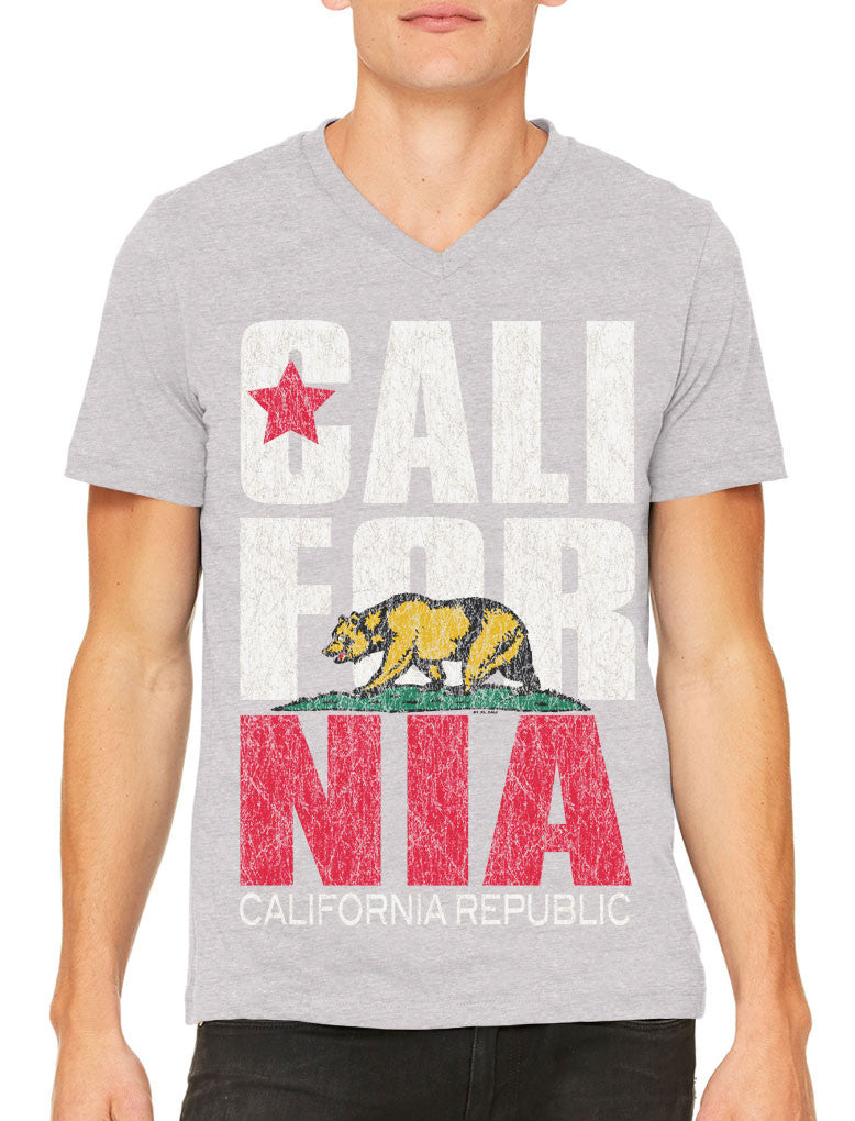 Cali For Nia California Republic Men's V-neck T-shirt