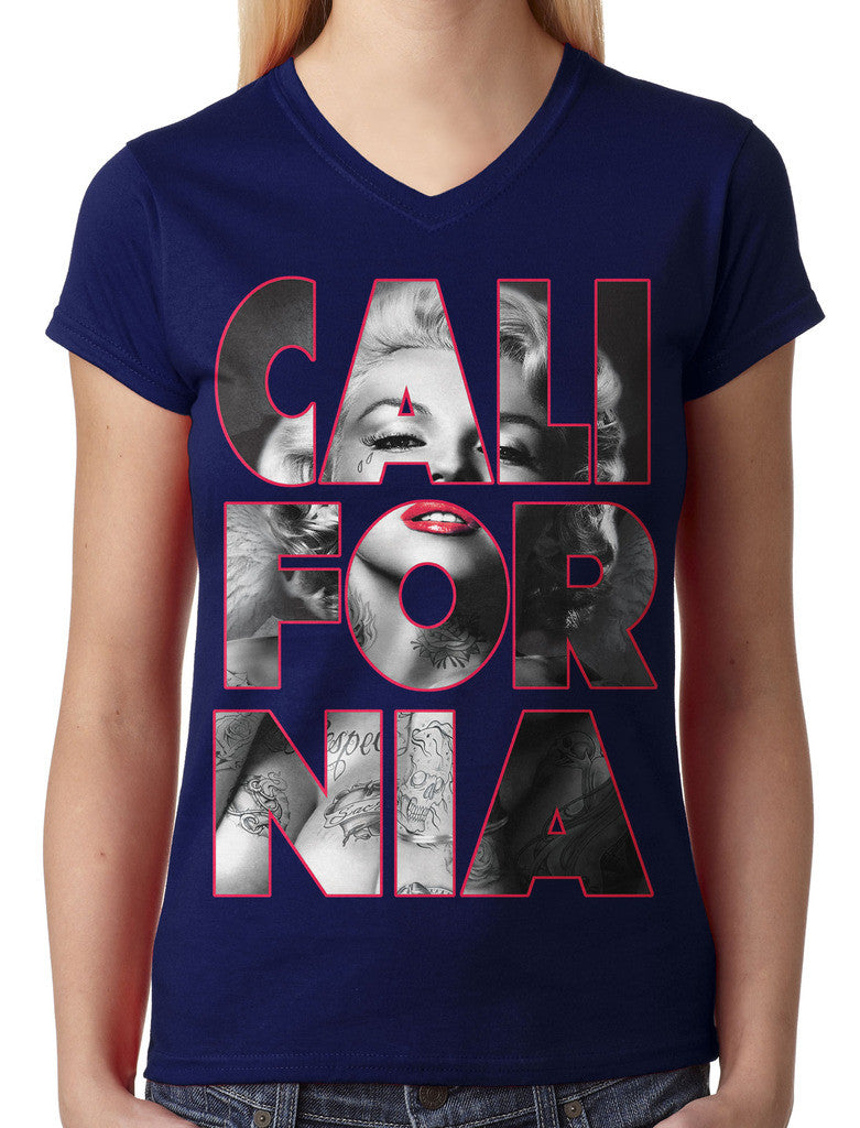 Marilyn Monroe Cali For Nia California Junior Ladies V-neck T-shirt