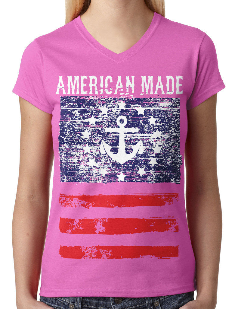 American Made Faded Anchor Flag Junior Ladies V-neck T-shirt