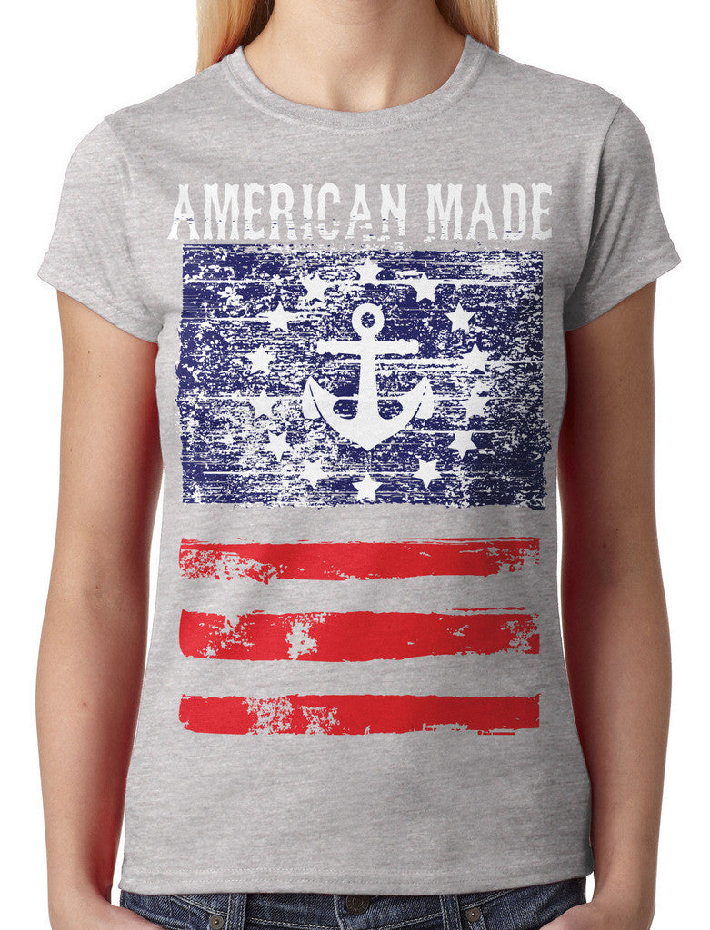 American Made Faded Anchor Flag Junior Ladies T-shirt