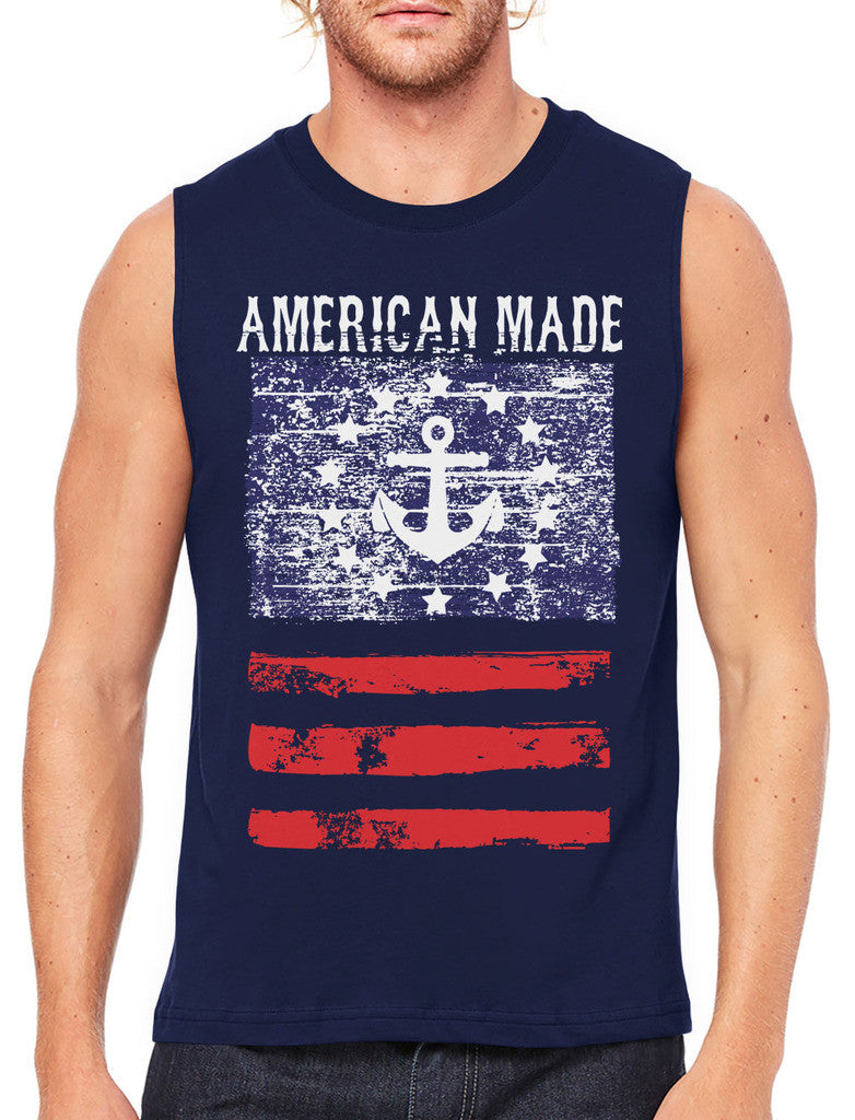 American Made Faded Anchor Flag Men's Sleeveless T-Shirt