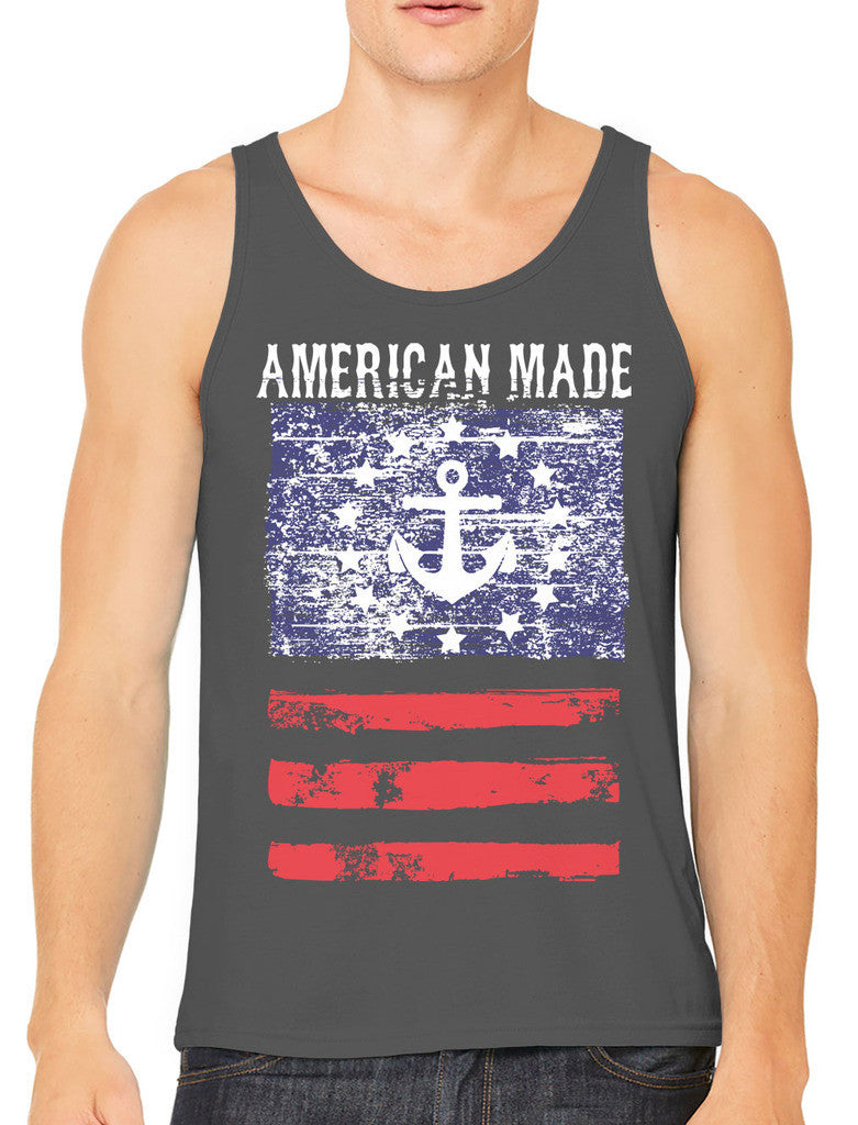 American Made Faded Anchor Flag Men's Tank Top
