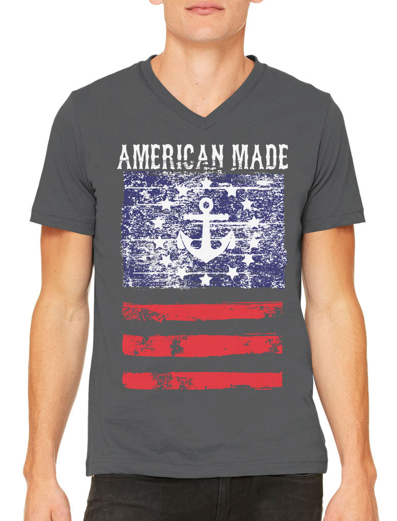 American Made Faded Anchor Flag Men's V-neck T-shirt