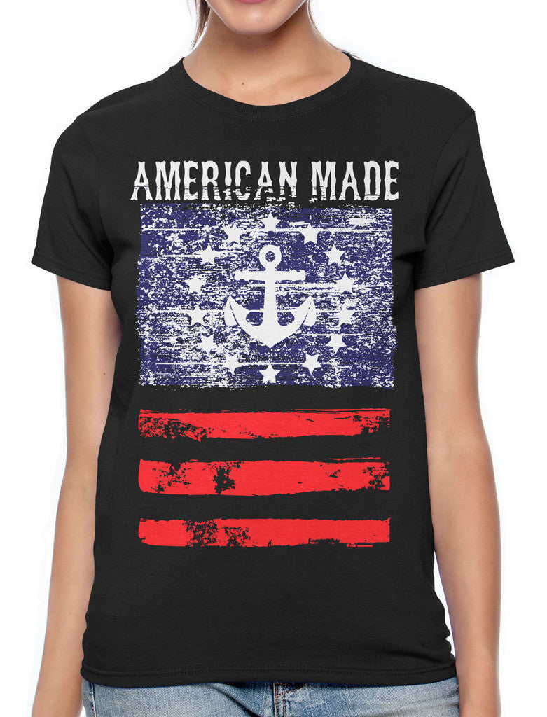 American Made Faded Anchor Flag Women's T-shirt
