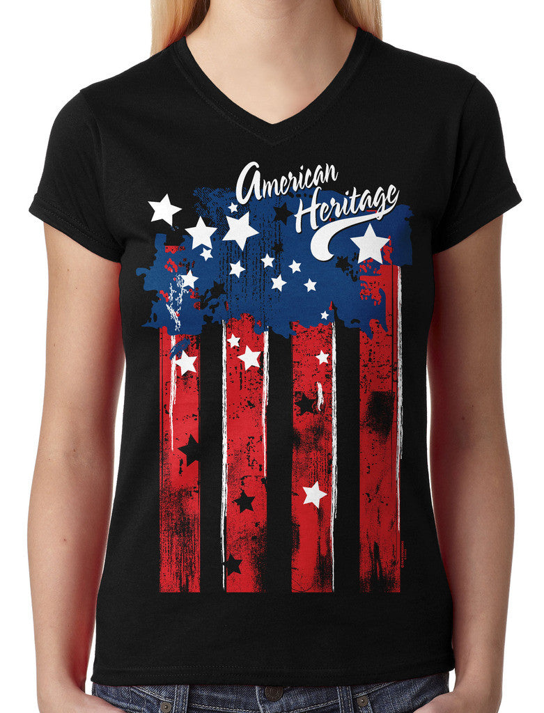 Faded American Heritage Flag Junior Ladies V-neck T-shirt