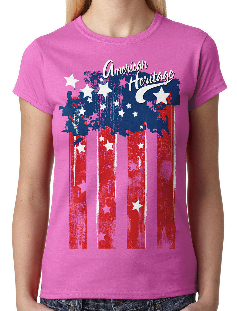 Faded American Heritage Flag Junior Ladies T-shirt