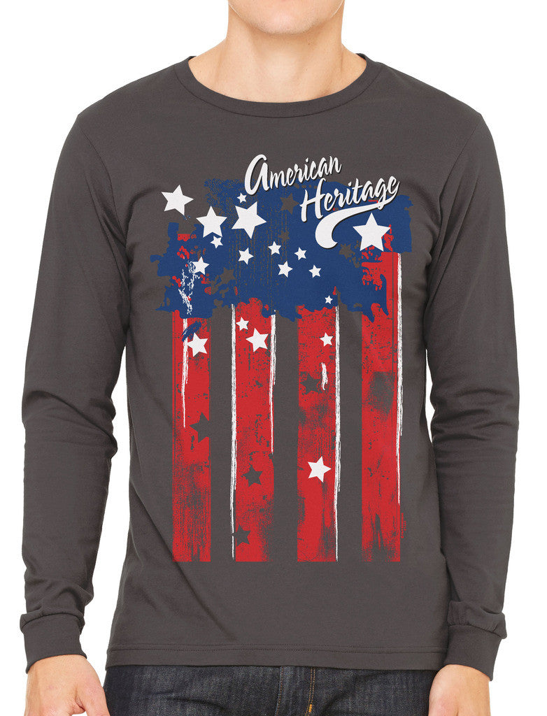 Faded American Heritage Flag Men's Long Sleeve T-shirt