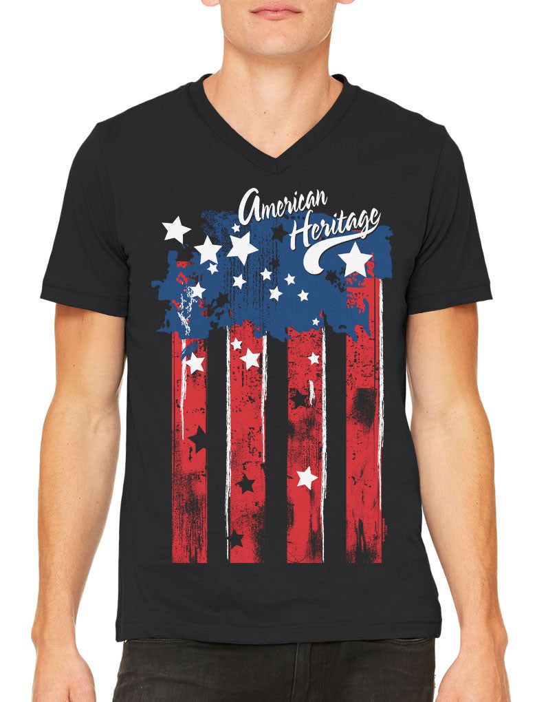 Faded American Heritage Flag Men's V-neck T-shirt