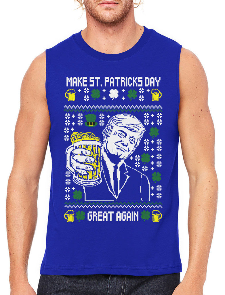 Digital Trump Make St Patricks Day Great Again Men's Sleeveless T-Shirt