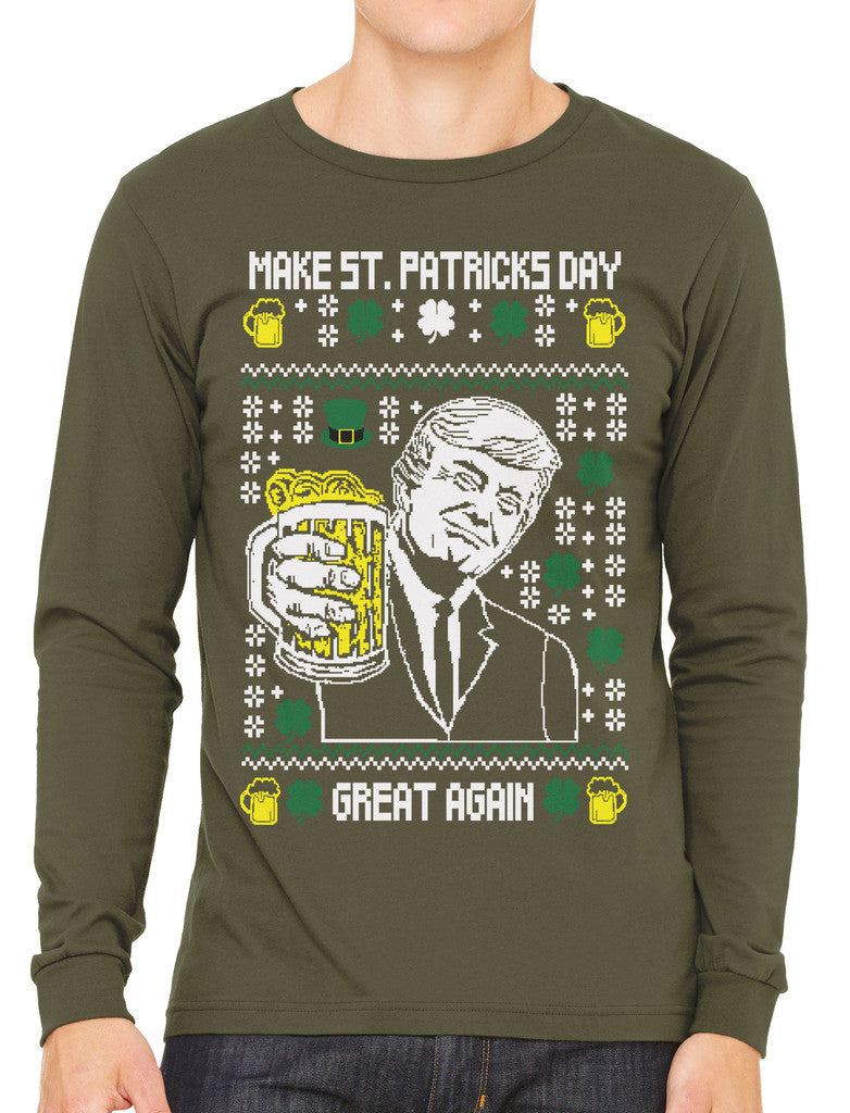 Digital Trump Make St Patricks Day Great Again Men's Long Sleeve T-shirt