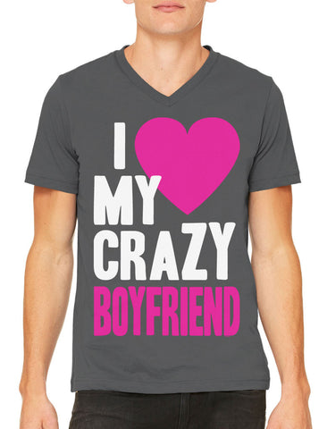 I Love my Crazy Husband Men's V-neck T-shirt